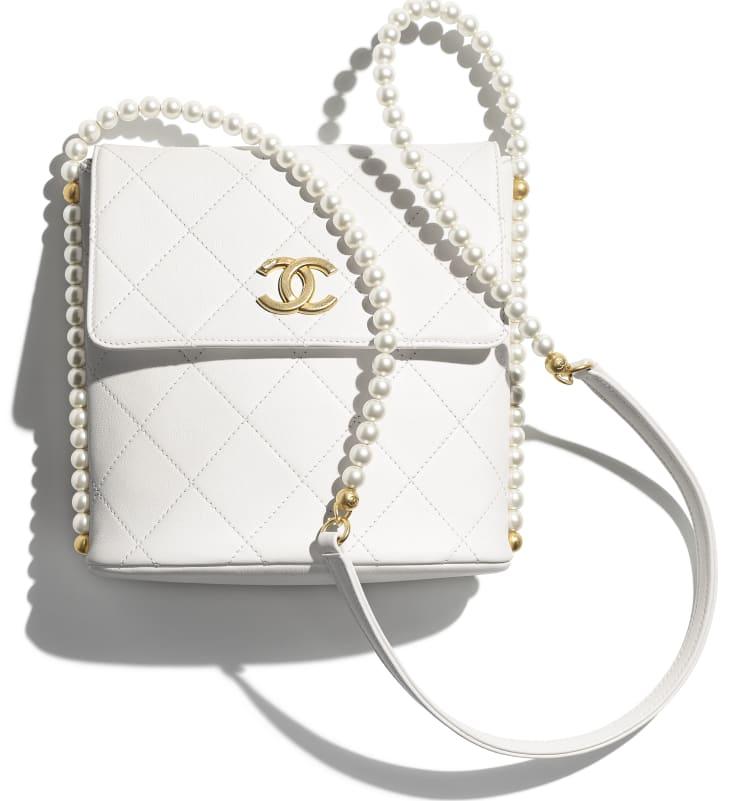 image 4 - Small Hobo Bag - Calfskin, Imitation Pearls & Gold-Tone Metal - White