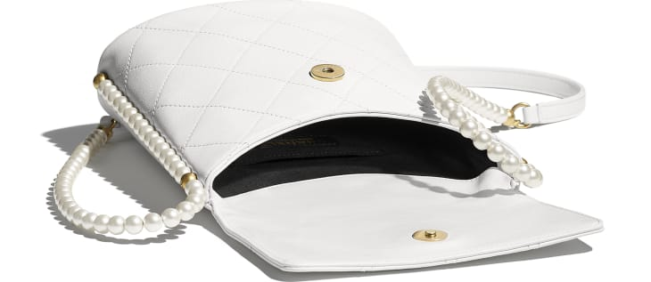 image 3 - Small Hobo Bag - Calfskin, Imitation Pearls & Gold-Tone Metal - White