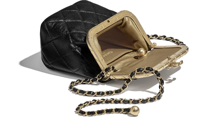 image 3 - Small Kiss-Lock Bag - Lambskin & Gold-Tone Metal - Black