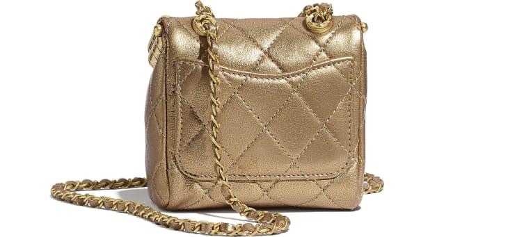 image 2 - Bolsa Pequena com Fecho Tabatière - Couro De Cordeiro Metálico & Metal Dourado - Dourado