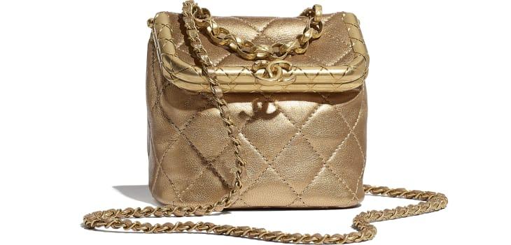 image 1 - Bolsa Pequena com Fecho Tabatière - Couro De Cordeiro Metálico & Metal Dourado - Dourado