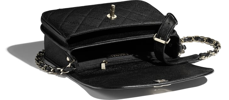 image 3 - Small Messenger Bag - Grained Calfskin & Gold-Tone Metal - Black