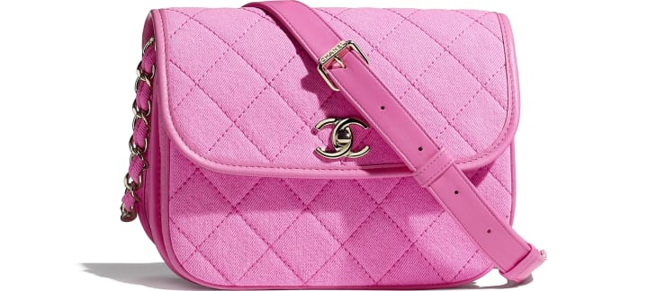 image 1 - Bolsa Messenger Pequena - Jeans & Metal Dourado - Neon Pink