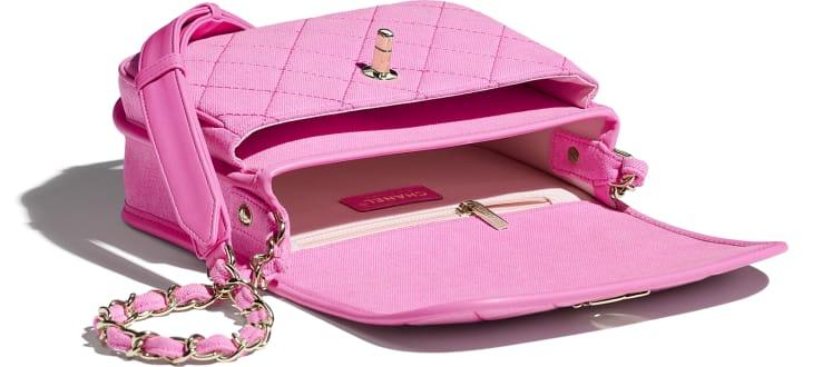 image 3 - Bolsa Messenger Pequena - Jeans & Metal Dourado - Neon Pink