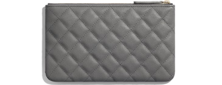 image 2 - Small Pouch - Grained Calfskin & Gold-Tone Metal - Gray