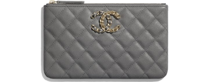 image 1 - Small Pouch - Grained Calfskin & Gold-Tone Metal - Gray