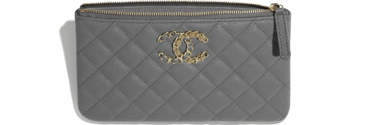 image 3 - Small Pouch - Grained Calfskin & Gold-Tone Metal - Gray