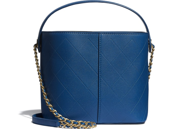 image 2 - Small Shopping Bag - Grained Lambskin, Smooth Lambskin & Gold-Tone Metal - Blue