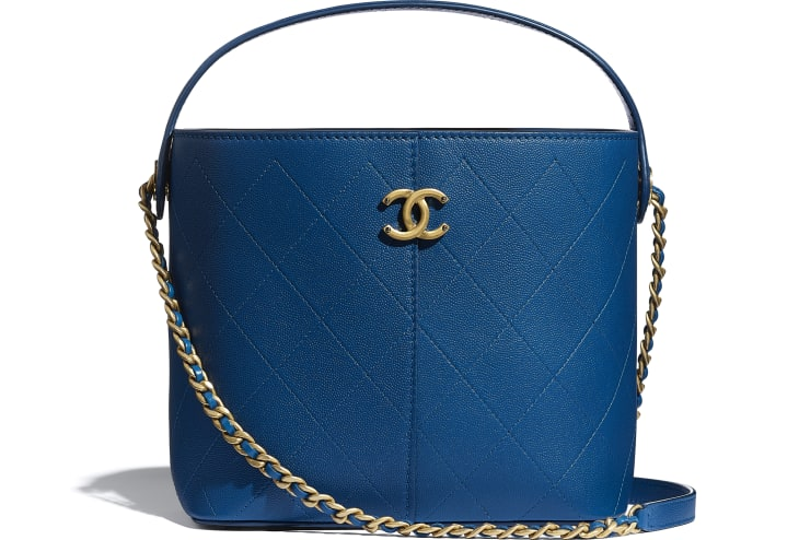 image 1 - Small Shopping Bag - Grained Lambskin, Smooth Lambskin & Gold-Tone Metal - Blue
