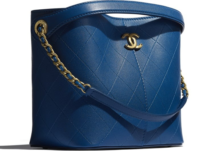 image 4 - Small Shopping Bag - Grained Lambskin, Smooth Lambskin & Gold-Tone Metal - Blue