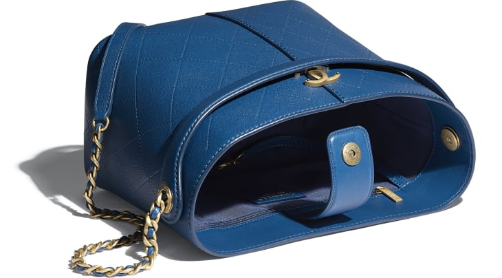 image 3 - Small Shopping Bag - Grained Lambskin, Smooth Lambskin & Gold-Tone Metal - Blue