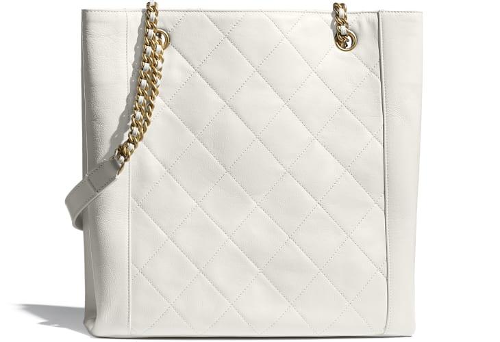 image 2 - Small Shopping Bag - Calfskin & Gold-Tone Metal - White