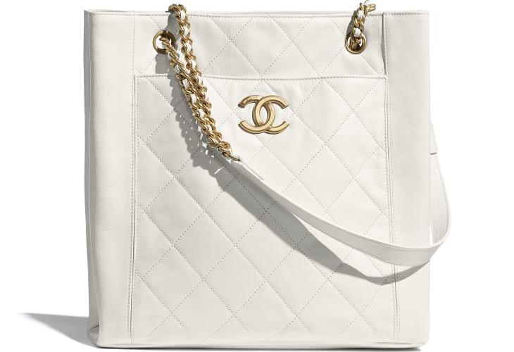 image 1 - Small Shopping Bag - Calfskin & Gold-Tone Metal - White