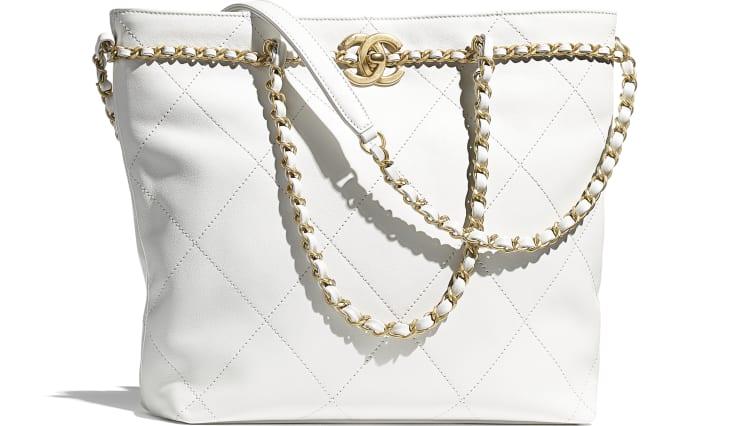 image 1 - Bolsa Pequena - Couro De Novilho & Metal Dourado - Branco