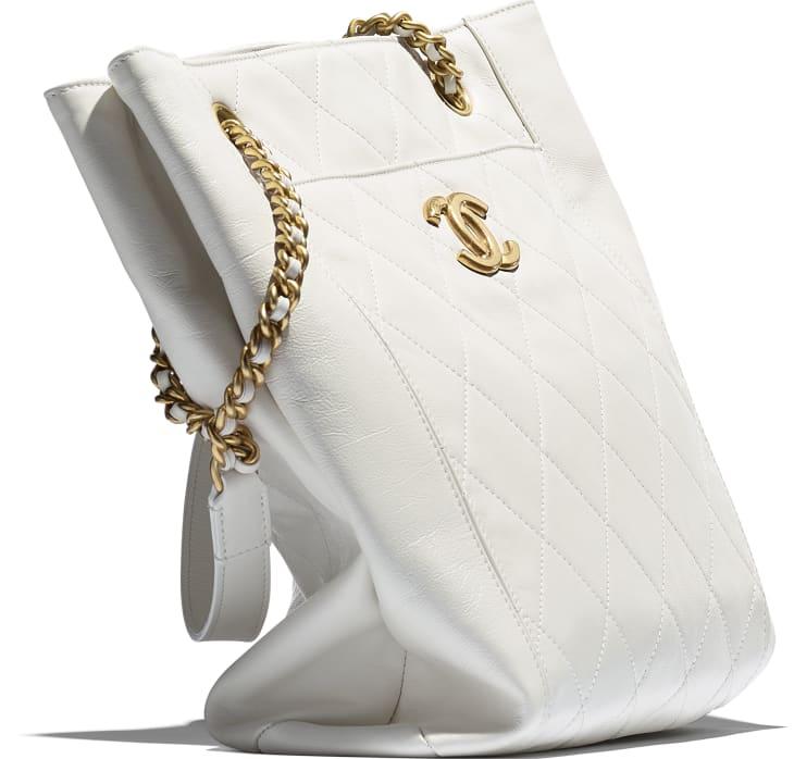 image 4 - Small Shopping Bag - Calfskin & Gold-Tone Metal - White