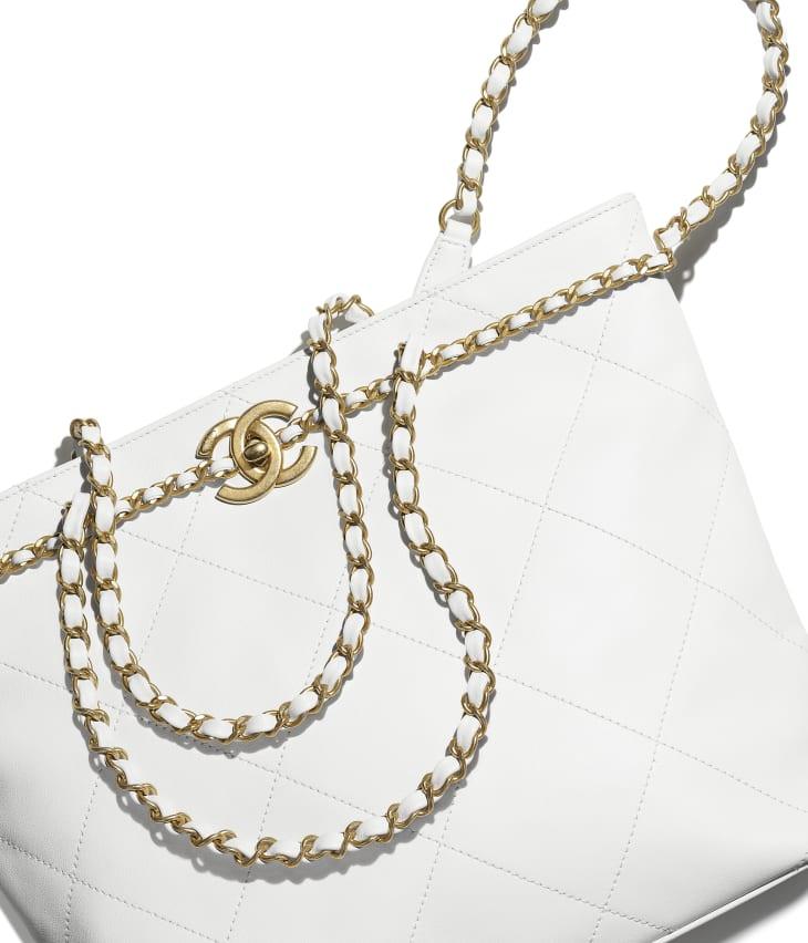 image 4 - Bolsa Pequena - Couro De Novilho & Metal Dourado - Branco