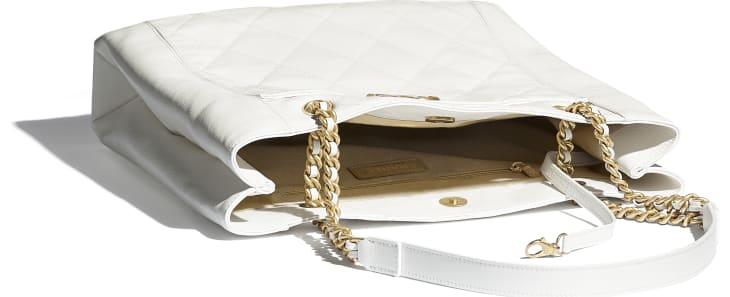 image 3 - Small Shopping Bag - Calfskin & Gold-Tone Metal - White