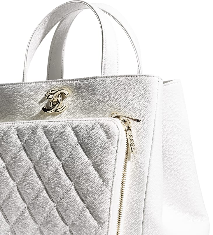image 4 - Small Shopping Bag - Grained Calfskin & Gold-Tone Metal - White