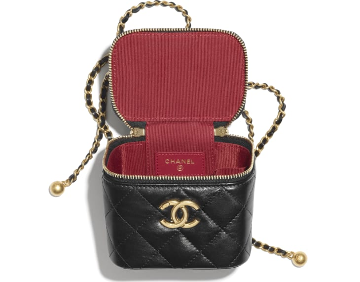image 2 - Small Vanity with Chain - Calfskin & Gold-Tone Metal - Black