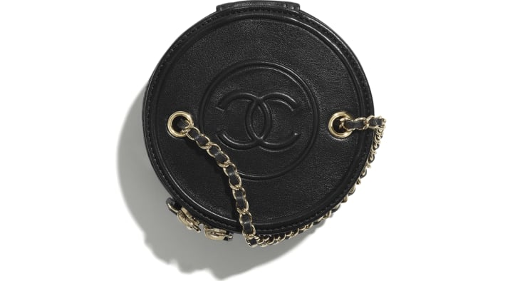 image 2 - Small Vanity with Chain - Lambskin & Gold-Tone Metal - Black