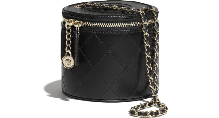 image 4 - Small Vanity with Chain - Lambskin & Gold-Tone Metal - Black