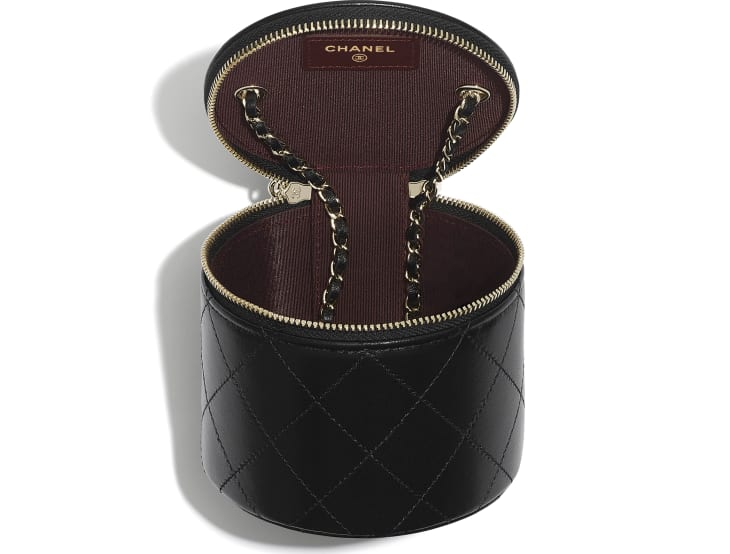 image 3 - Small Vanity with Chain - Lambskin & Gold-Tone Metal - Black