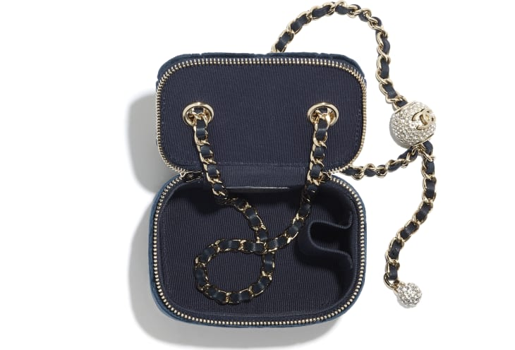 image 3 - Small Vanity with Chain - Velvet, Strass & Gold-Tone Metal - Navy Blue