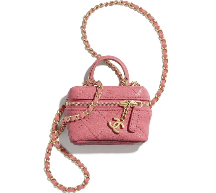 image 1 - Small Vanity with Chain - Couro De Novilho Granulado & Metal Dourado - Rosa