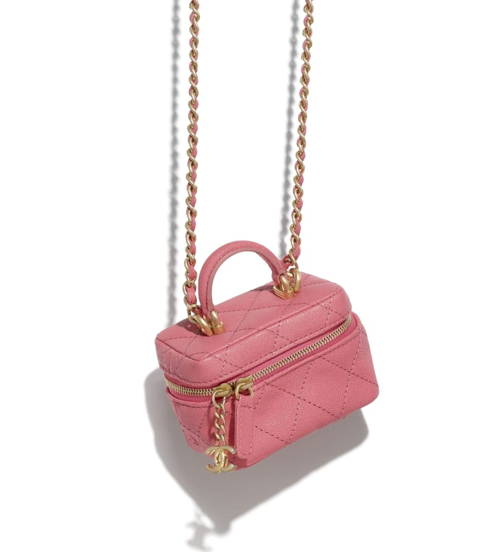image 3 - Small Vanity with Chain - Grained Calfskin & Gold-Tone Metal - Pink