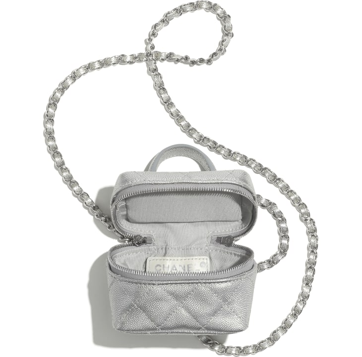 image 2 - Small Vanity with Chain - Metallic Grained Calfskin & Silver-Tone Metal - Silver
