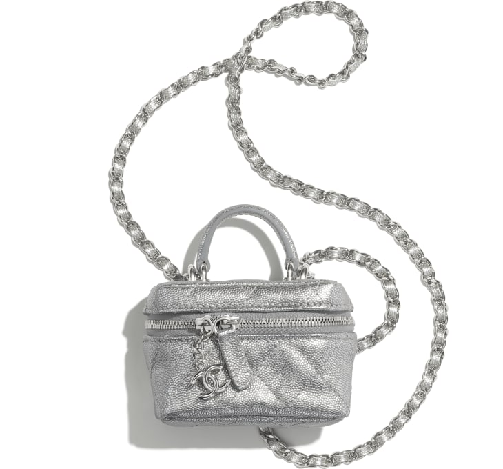 image 1 - Small Vanity with Chain - Metallic Grained Calfskin & Silver-Tone Metal - Silver