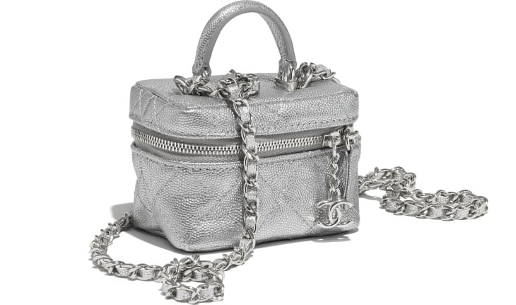 image 4 - Small Vanity with Chain - Metallic Grained Calfskin & Silver-Tone Metal - Silver