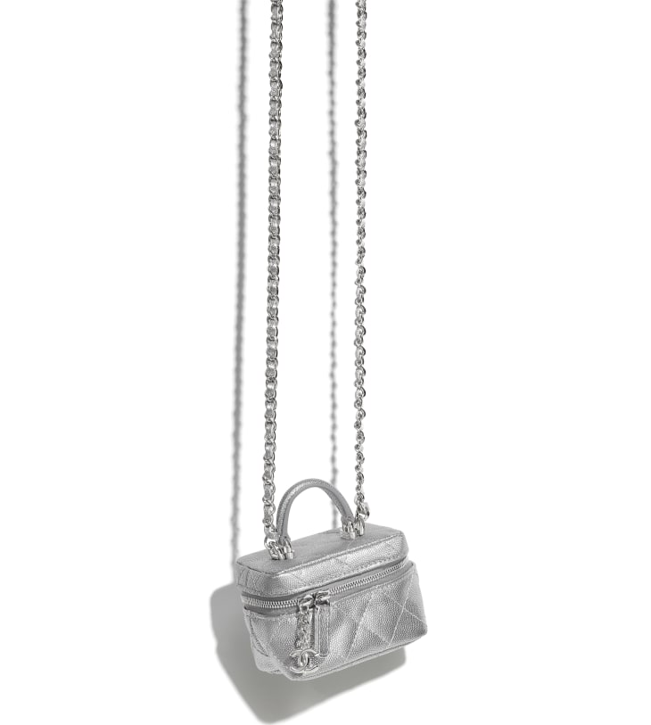 image 3 - Small Vanity with Chain - Metallic Grained Calfskin & Silver-Tone Metal - Silver