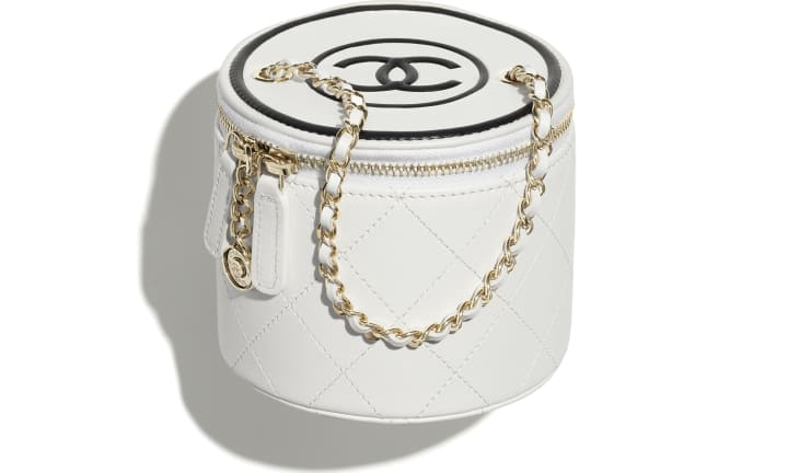 image 1 - Small Vanity with Chain - Lambskin & Gold-Tone Metal - White & Black