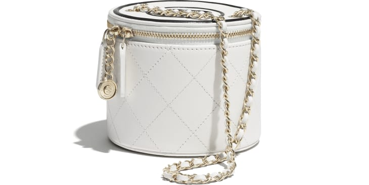 image 4 - Small Vanity with Chain - Lambskin & Gold-Tone Metal - White & Black
