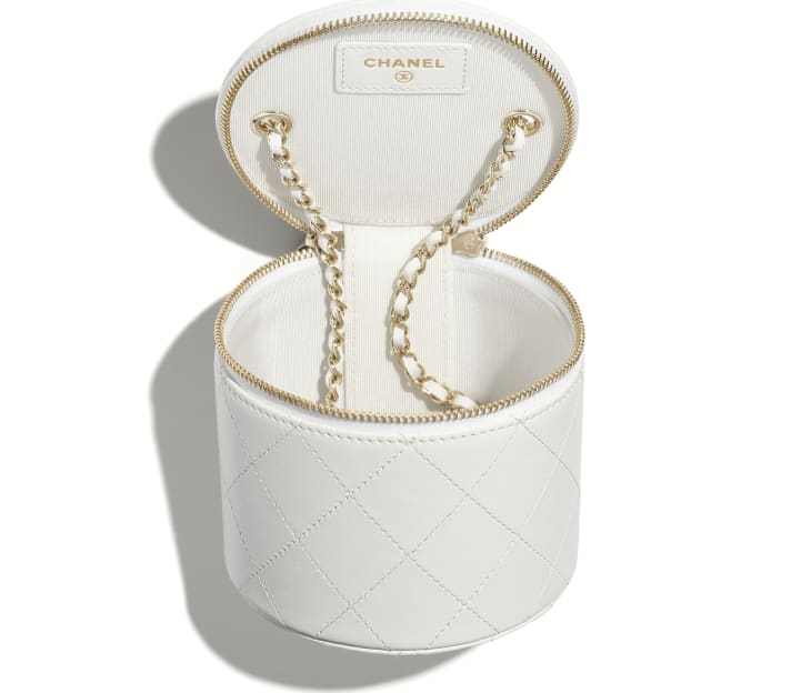 image 3 - Small Vanity with Chain - Lambskin & Gold-Tone Metal - White & Black