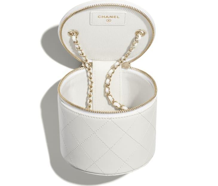 image 3 - Petit vanity avec chaîne - Agneau & métal doré - Blanc & noir