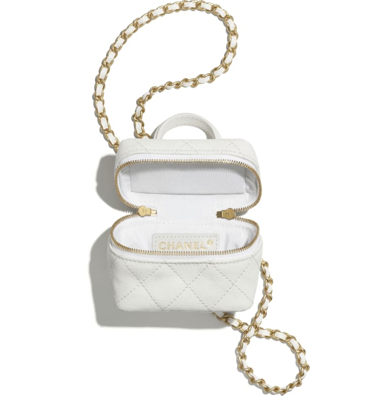image 2 - Small Vanity with Chain - Grained Calfskin & Gold-Tone Metal - White
