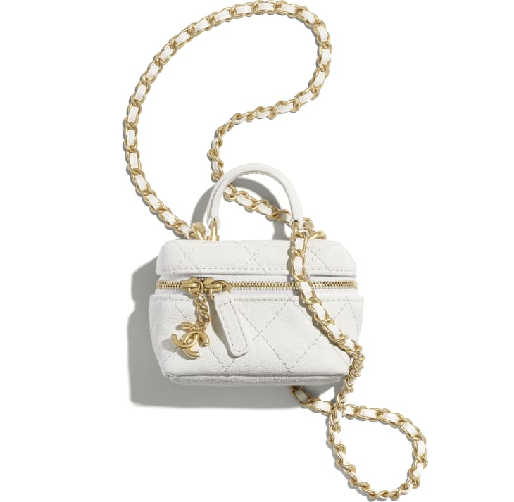 image 1 - Small Vanity with Chain - Grained Calfskin & Gold-Tone Metal - White