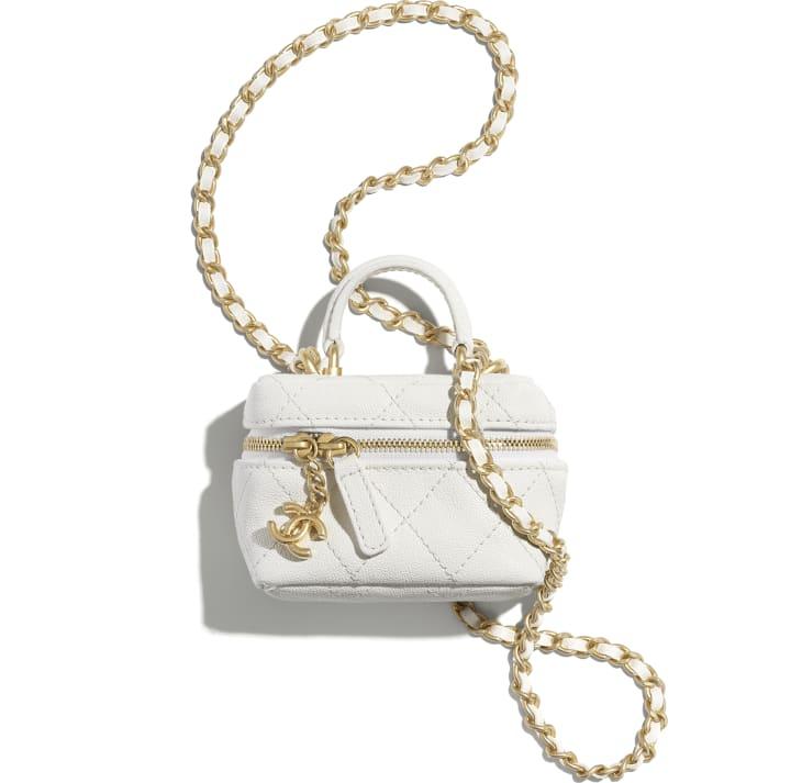 image 1 - Petit vanity avec chaîne - Veau grainé & métal doré - Blanc