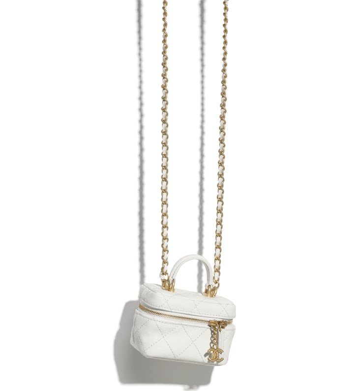 image 3 - Small Vanity with Chain - Grained Calfskin & Gold-Tone Metal - White