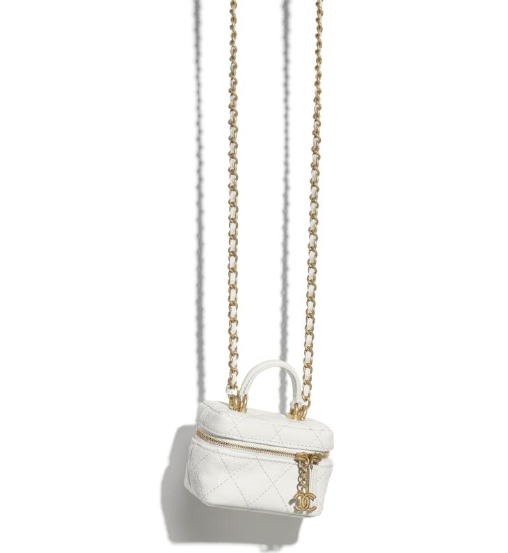 image 3 - Petit vanity avec chaîne - Veau grainé & métal doré - Blanc