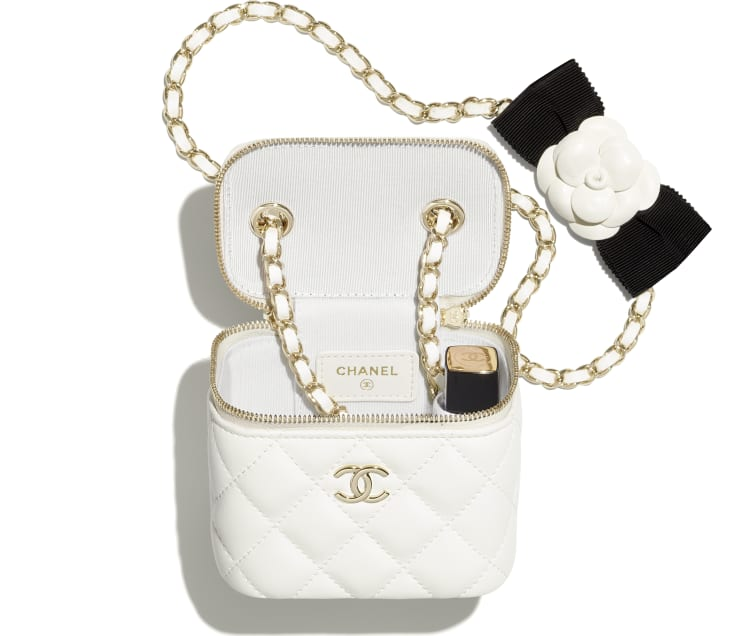 image 2 - Small Vanity with Chain - Lambskin & Gold-Tone Metal - White