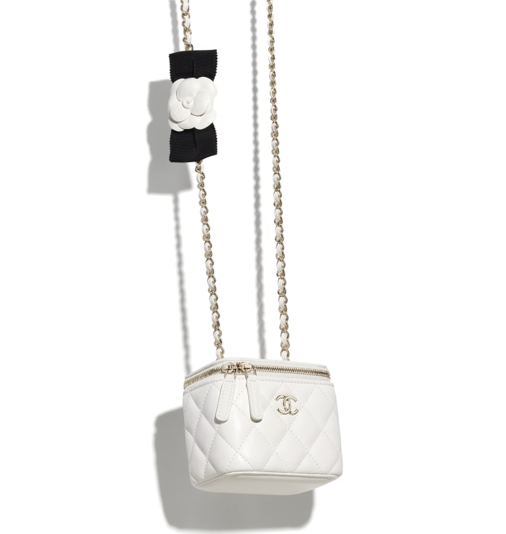 image 3 - Small Vanity with Chain - Lambskin & Gold-Tone Metal - White