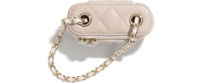image 2 - Small Vanity with Classic Chain - Grained Shiny Calfskin & Gold-Tone Metal - Pale Pink