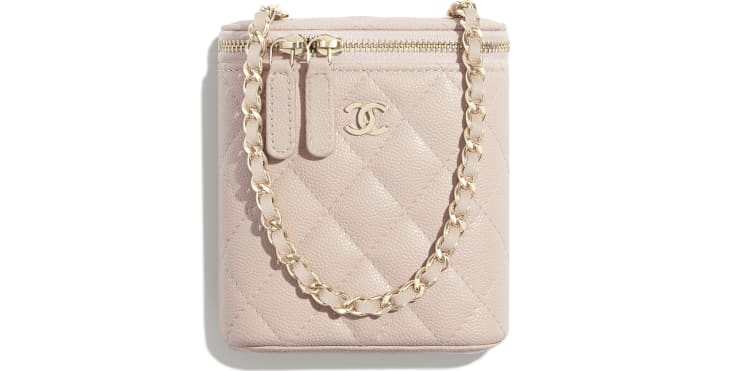 image 1 - Small Vanity with Classic Chain - Grained Shiny Calfskin & Gold-Tone Metal - Pale Pink