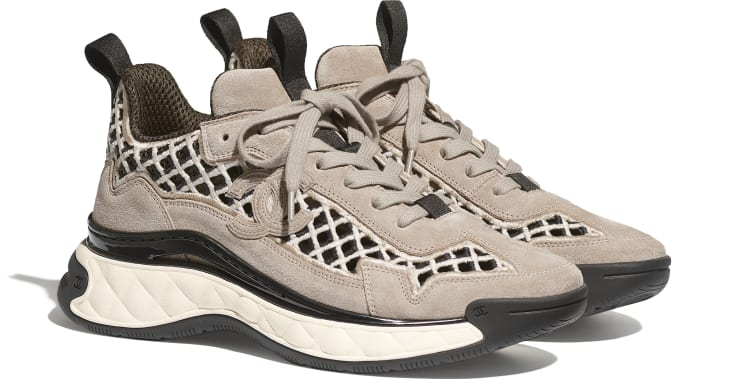 image 2 - Sneakers - Suede Calfskin & Embroidery - Beige