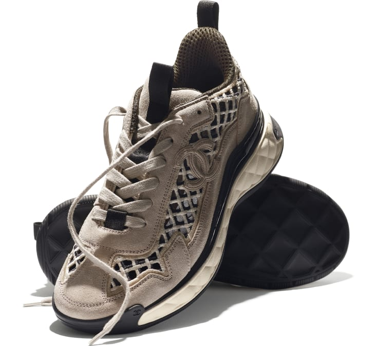 image 4 - Sneakers - Suede Calfskin & Embroidery - Beige