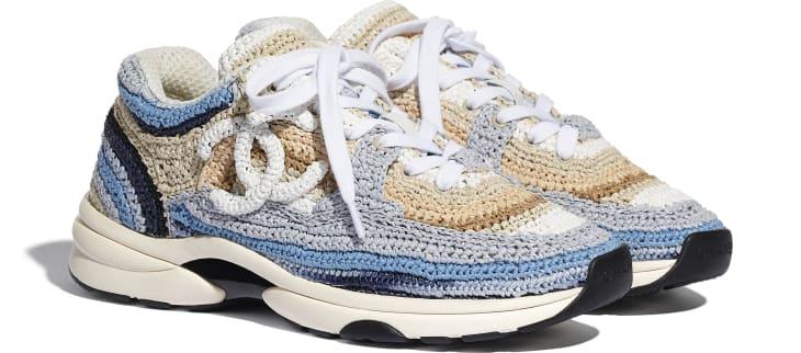 image 2 - Sneakers - Braided Raffia - Blue & Beige