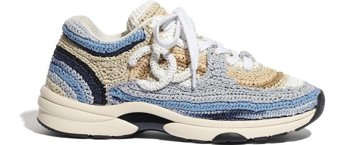 image 1 - Sneakers - Braided Raffia - Blue & Beige